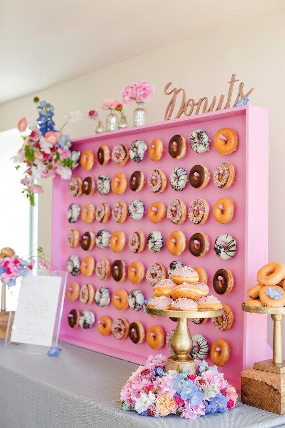 Новый свадебный тренд - стена из пончиков